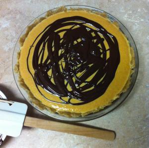 Pumpkin pie choc poured on top