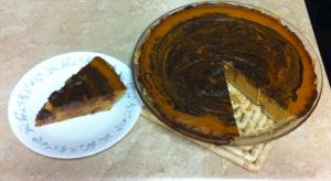 Pumpkin pie slice and pie