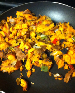 Sweet Potato Onion Pepper Mix fully cooked